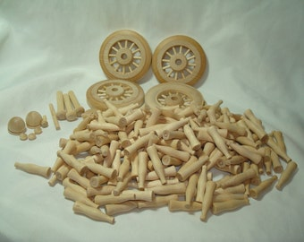 All Wooden Toy Wheels and Miniature Bottles for Crafts.