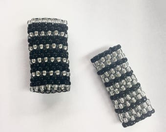 Two Striped Peyote Stitch Dreadlock Bead - Black and Silver - For Small Dreads
