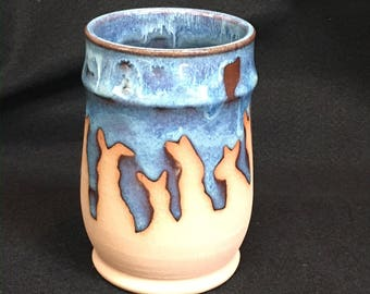 Watership Down inspired, cup/vase, 16 ounces, rutile blue glaze