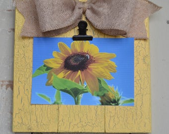 Small Rustic Wood Clip Photo Frame, Photo Clip Board, Photo Display Frame, Salvaged Wood Clip Photo Plaque, Burlap Bow, Sun-soaked Yellow