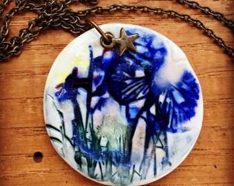 Necklace, porcelain pendant