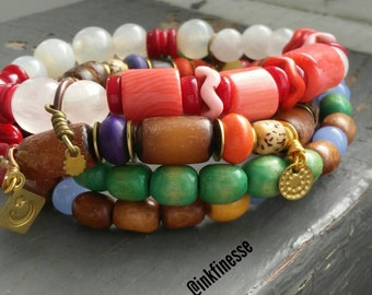 Tribal.1 - 4 bracelet stack set - rosewood, bamboo, glass, stone, coral, stamped metalwork tags, African beaded stretch bracelets