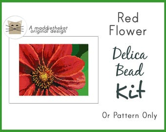 New - Red Flower Larger Panel Seed Bead Peyote Pattern PDF or KIT DIY