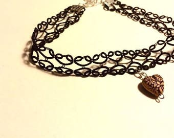 Black Lace Choker Necklace, Simple Leaf Pattern with Wooden Heart Pendant, black choker with pendant, choker with pendant, black lace choker