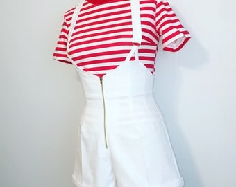 Norma's Jeans Romper Overall Pinup Shorts- White High Waist 40s Style Red White Stripe Top Set Optional, Made To Order All Sizes