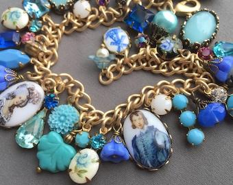 Charm Bracelet - Blue Bracelet - Blue Jewelry - Rhinestone Bracelet - Vintage Bracelet - Victorian Jewelry - Flower Jewelry - Gift for Her