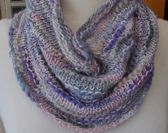 Lavender Pink & Gray Neckwarmer, Cowl, Chunky Cowl, Collar Cowl, Purple Neckwarmer, gift for her, hand made cowl, knit cowl, purple cowl