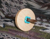 Reserved for farthestfeather: Split Notched Spindle, Low Whorl,  Birdseye Maple and Walnut with turquoise, Travel Spindle, 28 g