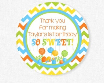 Candy Favor Tags, Sweet Shoppe Party Favors, Thank You Tag, Candyland Gift Tag, Boy Birthday Tag, Personalized
