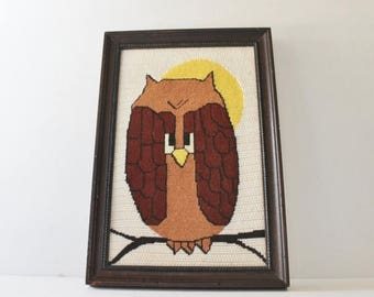 60% off sale // Vintage 70s Owl Needlepoint Picture - 15x10 - Professionally Framed