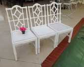 Reserved PAGODA FRETWORK CHAIR / One Asian Pagoda Chair / 3 Fretwork Chairs Available / Ready for Re-do / Hollywood Regency Retro Daisy Girl