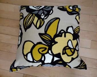 Black, yellow, white, beige mod floral velvety soft throw pillow