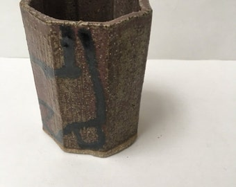 Studio Ceramic Vase or Pen Cup Brown Natural Interiors