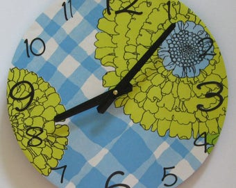 Large wall clock. Unique OOAK wall clock. Vinyl clock. Modern clock. Clock made with wallpaper. Flower clock.