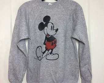 1970's Mickey Mouse Disney Casuals Heather Gray Pullover Sweatshirt size Small Character Tri Blend #1
