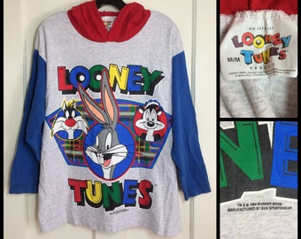1990's 1994 Looney Tunes Bugs Bunny Sylvester Pepe character color block hoodie baseball 3/4 sleeve t-shirt size Medium 21x24 red blue gray