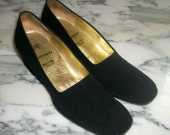 Vintage-BRUNO-MAGLI-Classic-Black-Suede-Ladies-Shoes-Pumps-8AAA