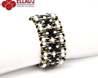 Tutorial Kiara Bracelet-Bracelet beading tutorial with Arcos and Minos and Superduo Duets by Ellad2