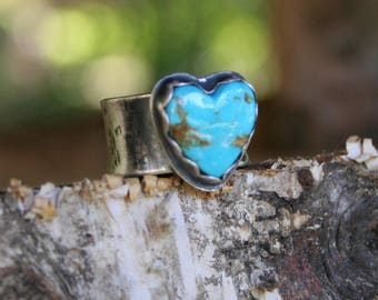 Turquoise Heart Sterling Silver Oxidized Boho Gypsy Wide Band Silversmith Artisan Ring