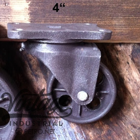 """4"""" Vintage Industrial Casters, Antique Industrial Cast Iron 4TMHD"""