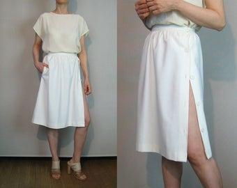 80s Off White Cotton Asymmetrical Button Down Skirt