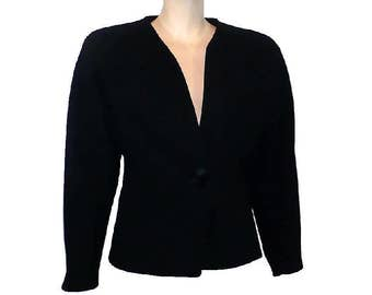 M Vintage 1940's Black Wool Blazer Jacket Work Separate Medium