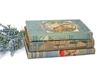 Vintage Book Bundle  /  Hardcover Books with Dust Jackets  /  C. 1940's /  Blue Room Decor  /  Decorative Books  /  Beach Cottage Decor
