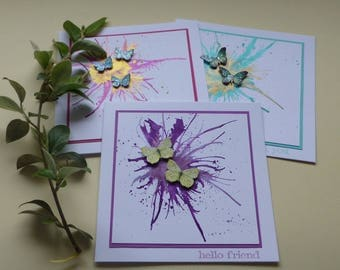 GREETINGS CARDS  ( pack of 3 , mixed designs ) ' Flight ' Butterflies, metallic ink.  ..UK seller...  ready to ship..