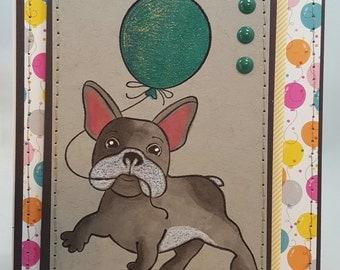 Bulldog Balloon - Blank NoteCard, Greetings Card, Handmade Card, Hand sewn, Birthday