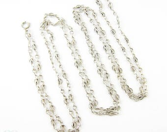 Antique French Silver Chain, Edwardian Fancy Link Long Guard Necklace with Engraved Intertwined Links. Circa 1900s, 136 cm / 53.5 inches.