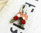 On Sale Sweet Peaches ,Vintage Estate Style  Peach & Peridot Triple Jewel Earrings by Hollywood Hillbilly