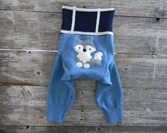 Upcycled Merino Wool Longies Soaker Cover Diaper Cover With Added Doubler Blue With Wolf Applique And Knee Patches  6-12M