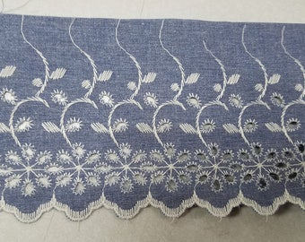 """Vintage Denim Eyelet lace trim in 4"""" for altered couture, art, decor and more 30 yards wholesale"""