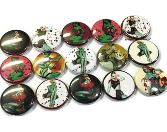 """Zombie Pin Up, 1"""" Button, Zombie Girl Pin, Zombie Button, Zombie Pinback, Zombie Flatback, Zombie Party, Zombie, Zombie Theme, Undead, PinUp"""