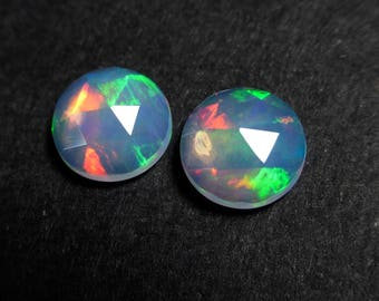 8mm Ethiopian Opal Round Rose Cut Cabochons  - Matching Pair - Earrings - Natural - Opal  - Supplies - ZX44
