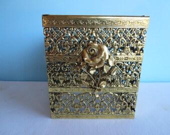 Vintage Gold Metal Filigree Tissue Cover Box