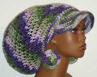 Lilac Garden Large Brimmed Cap Hat with Drawstring and Earrings Dreadlocks by Razonda Lee Razondalee