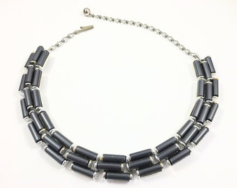 Modern Charel Necklace, Vintage Jewelry, Grey Necklace, Charel Necklace, Lucite Jewelry, Vintage Choker, Thermoset, Charel Jewelry, Silver