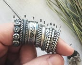 Stacker Rings - Pattern Rings - Handmade - Sterling Silver - Stacker Set - Hammered Ring Band - Simple Stackable Rings - Goingsnake Silver -