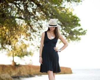 Short Black Linen Dress / Summer Dress / Pure Linen / Crinkled Linen /  Beach Dress / Hand Made/Summer Party Dress