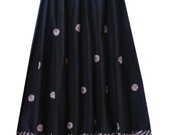 Hand Embroidered Six Panel Long Pure Cotton Skirt, with Lining