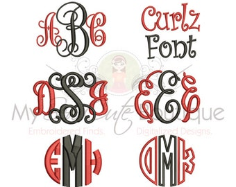 Embroidery Fonts - Machine Designs PES Monogram Font Pack - 3 Sizes - Instant Download