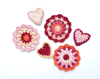 Red mandala circles with hearts applique - crochet mandala decorations - home decor - set of mandalas for DIY project - set of 6