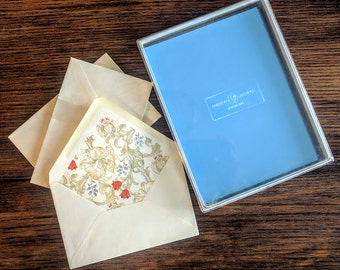 Vintage Stationery Set American Greetings 1980's 34 Blue Sheets w/ 18  Decorative Inside Envelopes Floral Design Beautiful