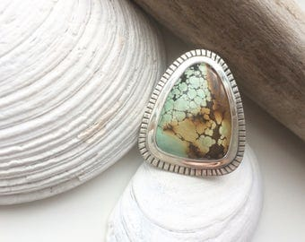Turquoise Sterling Silver Statement Ring // Hand Stamped Navaho Inspired Large Triangle Turquoise // One of a Kind Big Keepsake Ring