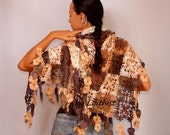 Crochet Shawl Wrap, Lace Shawl, Crochet Wrap, Flower Shawl, Multicolor Shawl, Fall Colors Square Shawl, Oversized Shawl, Gift For Her