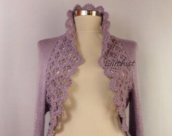 Lilac Wedding Bolero, Bridal Shrug, Knit Bolero, Crochet Shrug, Lavander Bridal Bolero Jacket, Cover Up, Wedding Shrug, Cardigan / SALE