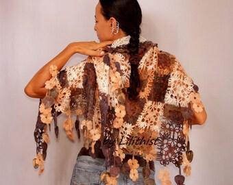 Crochet Shawl Wrap, Lace Shawl, Crochet Wrap, Flower Shawl, Multicolor Shawl, Fall Colors Square Shawl, Oversized Shawl, Gift For Her