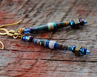 Recycled Paper Jewelry, Blue and Gold, Minimalist Dangles, Organic and Simple, Natural and Rustic Jewelry, Boho Jewelry, Boho Earrings