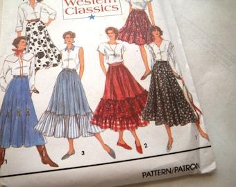 1992 Tiered Western Dance Skirt Pattern Uncut - Waist 26-30 - Hip 36-40 Simplicity 8193